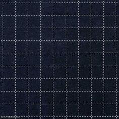Tissu Toile coton à la coupe - Carrés Sashiko sur fond bleu foncé - Par 10 cm