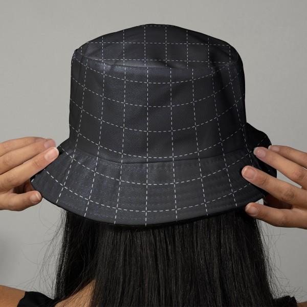 Tissu Toile coton à la coupe - Carrés Sashiko sur fond bleu foncé - Par 10 cm - Photo n°2