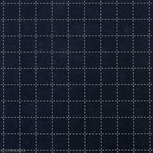 Tissu Toile coton à la coupe - Carrés Sashiko sur fond bleu foncé - Par 10 cm - Photo n°1