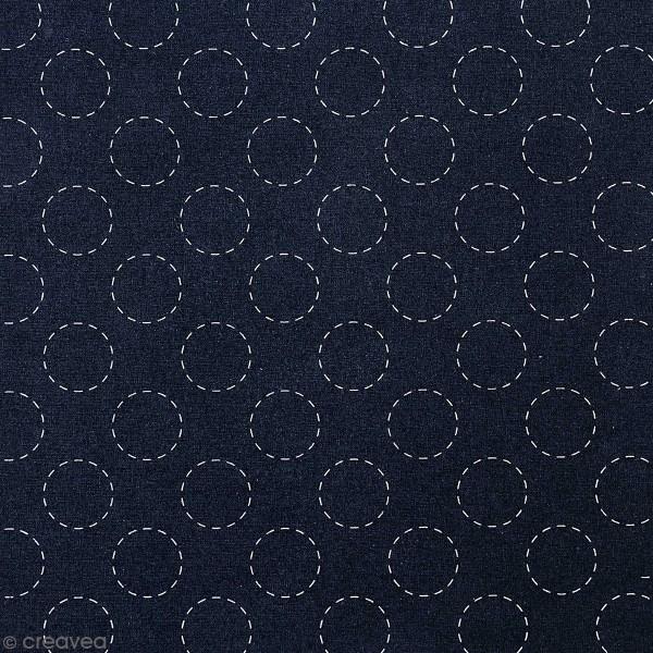 Tissu Toile coton à la coupe - Ronds Sashiko sur fond bleu foncé - Par 10 cm - Photo n°1