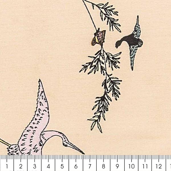 Tissu Toile coton à la coupe - Grues sur fond crème - Détails dorés - Par 10 cm - Photo n°2