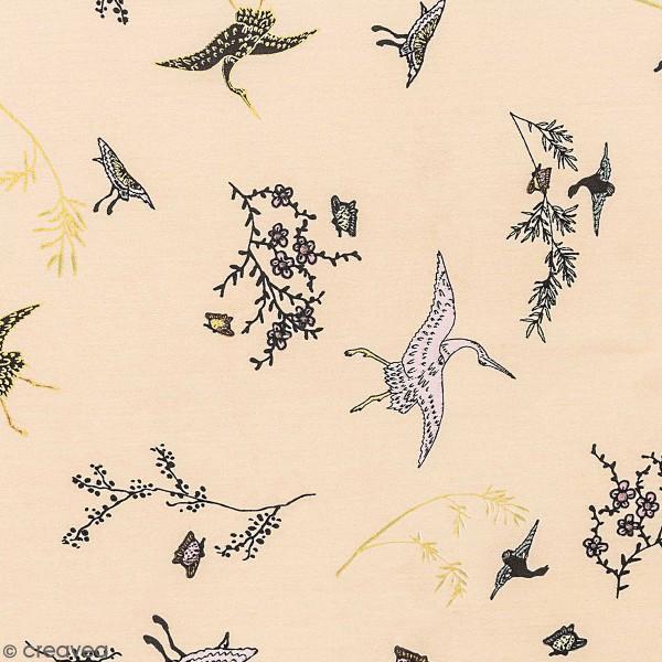 Tissu Toile coton à la coupe - Grues sur fond crème - Détails dorés - Par 10 cm - Photo n°1