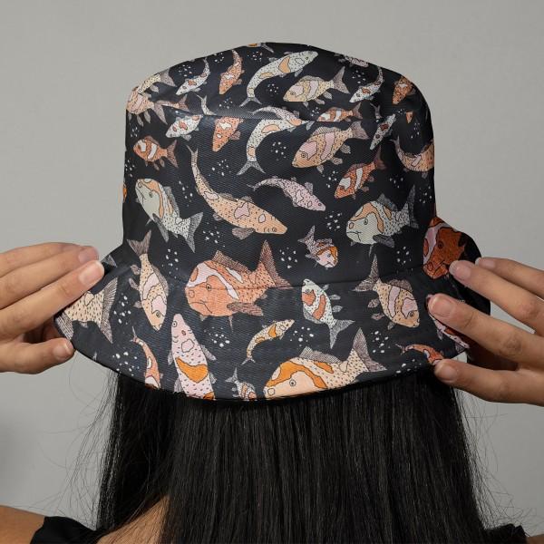 Tissu Toile coton à la coupe - Poissons pastel sur fond noir - Par 10 cm - Photo n°2