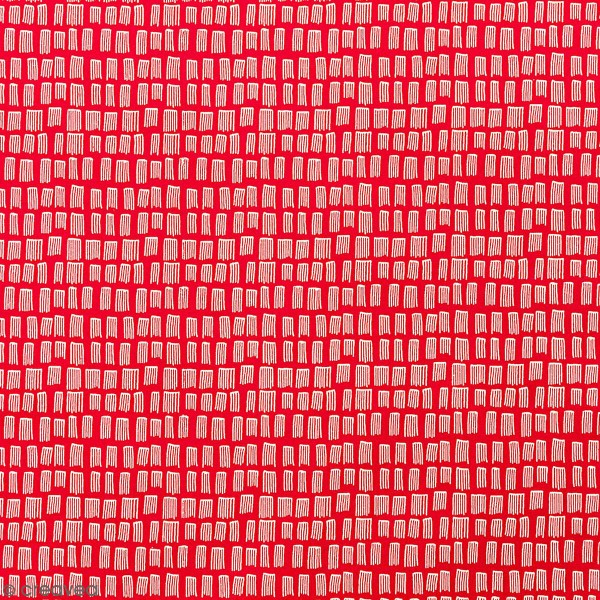Tissu Toile coton à la coupe - Traits blancs sur fond rouge - Par 10 cm - Photo n°1