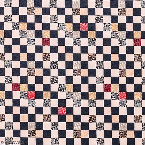 Tissu Toile coton à la coupe - Carreaux crème et noirs sur fond  - Détails fluo - Par 10 cm - Photo n°1