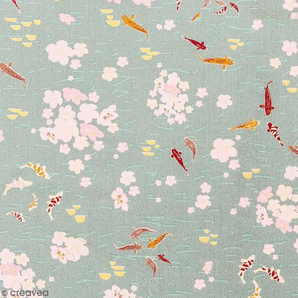 Tissu Toile coton à la coupe - Carpes Koï sur fond bleu pâle - Détails dorés - Par 10 cm - Photo n°1
