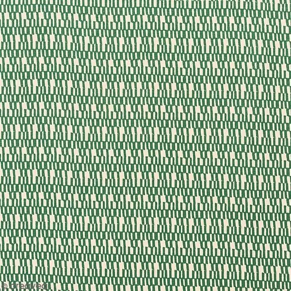 Tissu Toile coton à la coupe - Traits blancs sur fond vert - Par 10 cm - Photo n°1