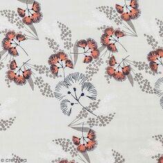 Tissu Toile coton à la coupe - Fleurs au vent sur fond gris - Par 10 cm