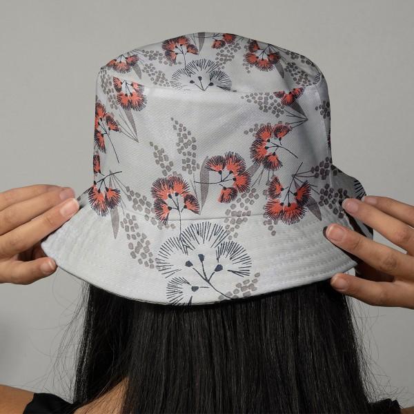 Tissu Toile coton à la coupe - Fleurs au vent sur fond gris - Par 10 cm - Photo n°2