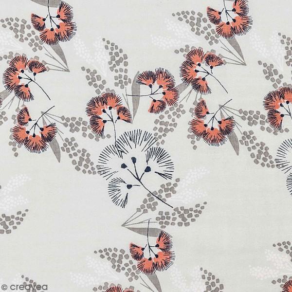 Tissu Toile coton à la coupe - Fleurs au vent sur fond gris - Par 10 cm - Photo n°1