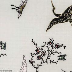 Tissu Toile coton à la coupe - Grues sur fond gris - Détails dorés - Par 10 cm
