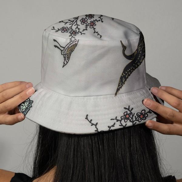 Tissu Toile coton à la coupe - Grues sur fond gris - Détails dorés - Par 10 cm - Photo n°2