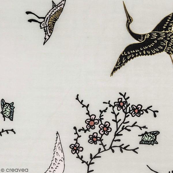 Tissu Toile coton à la coupe - Grues sur fond gris - Détails dorés - Par 10 cm - Photo n°1