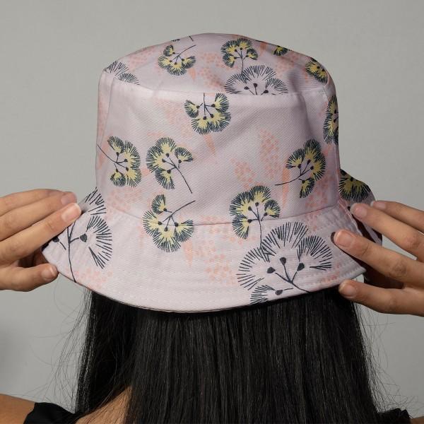 Tissu Toile coton à la coupe - Fleurs au vent sur fond rose - Par 10 cm - Photo n°2
