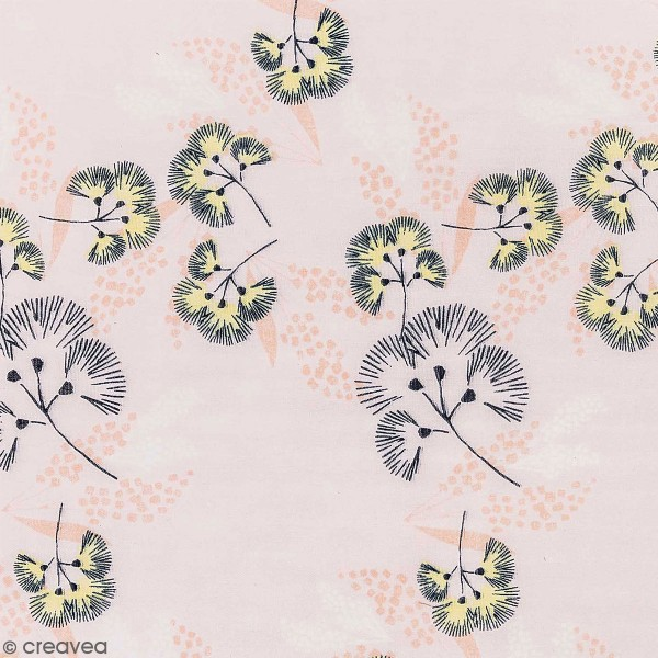 Tissu Toile coton à la coupe - Fleurs au vent sur fond rose - Par 10 cm - Photo n°1