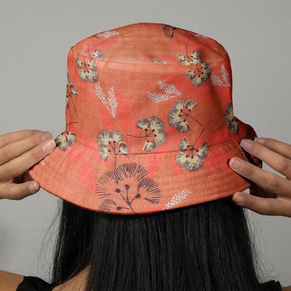 Tissu Toile coton à la coupe - Fleurs au vent sur fond corail - Par 10 cm - Photo n°2