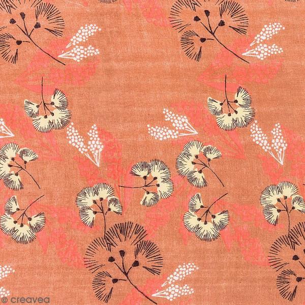 Tissu Toile coton à la coupe - Fleurs au vent sur fond corail - Par 10 cm - Photo n°1