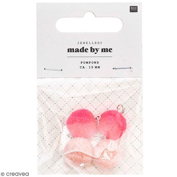 Set de mini pompons ronds - 15 mm - Rose - 4 pcs - Photo n°1