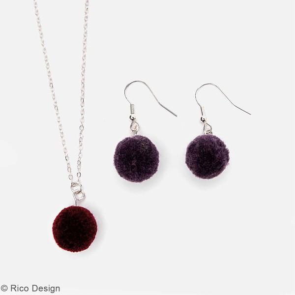 Set de mini pompons ronds - 15 mm - Violet - 4 pcs - Photo n°2