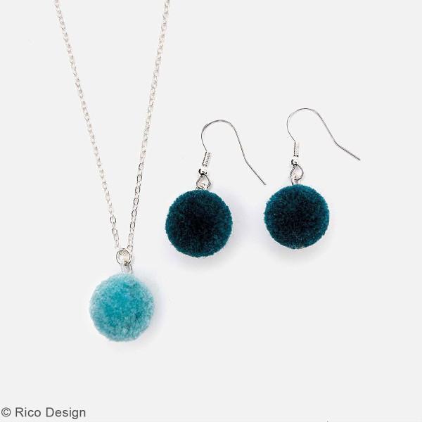 Set de mini pompons ronds - 15 mm - Turquoise - 4 pcs - Photo n°2
