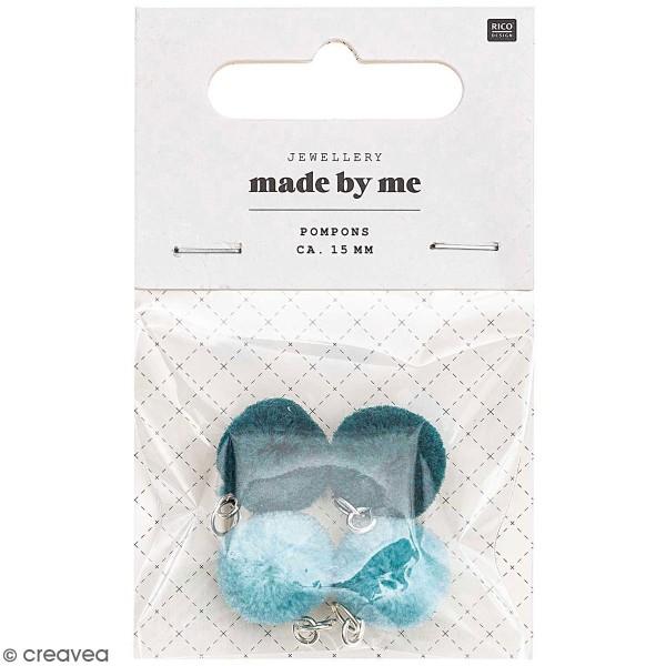 Set de mini pompons ronds - 15 mm - Turquoise - 4 pcs - Photo n°1