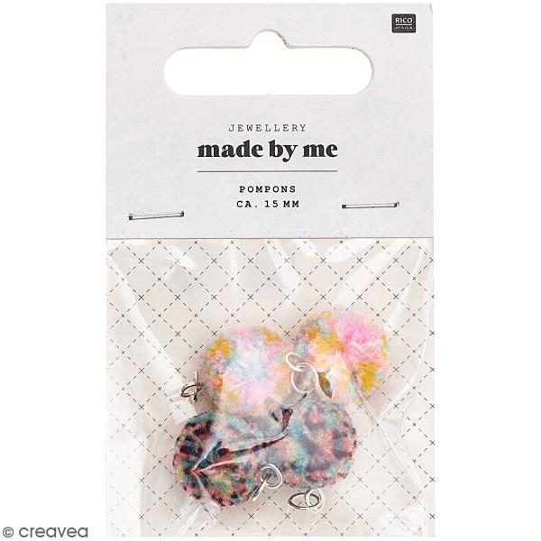 Set de mini pompons ronds - 15 mm - Multicolore - 4 pcs - Photo n°1