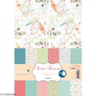 Papier scrapbooking Toga - Color Factory - Plumes - 48 feuilles en A4