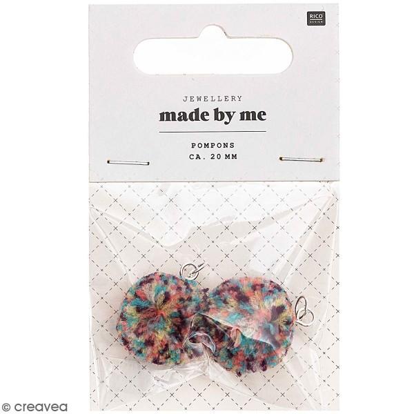 Set de pompons ronds - 20 mm - Multicolore - 2 pcs - Photo n°1