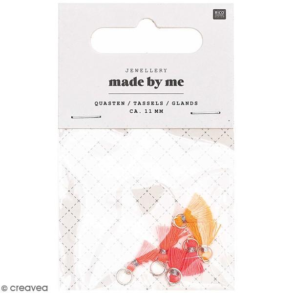 Set de mini pompons tassels - 11 mm - Fluo - 6 pcs - Photo n°1