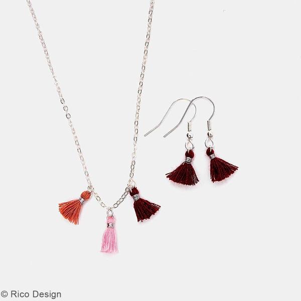 Set de mini pompons tassels - 11 mm - Bordeaux et rose - 6 pcs - Photo n°2
