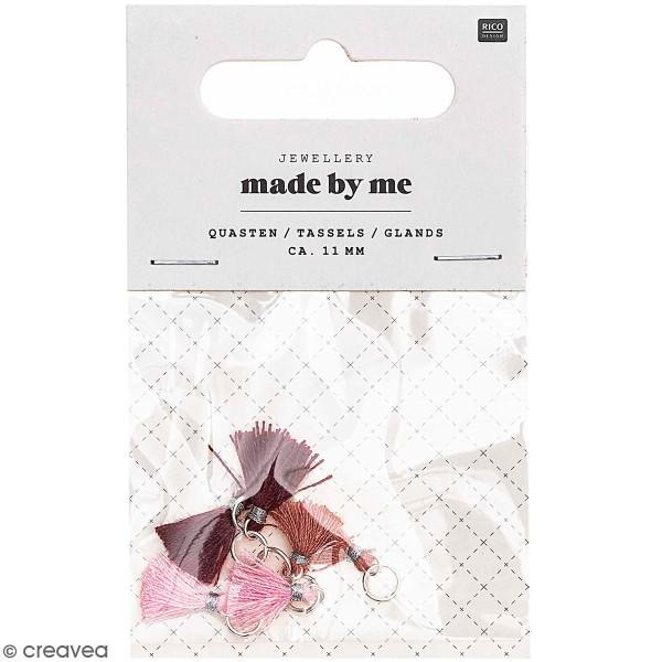 Set de mini pompons tassels - 11 mm - Bordeaux et rose - 6 pcs - Photo n°1