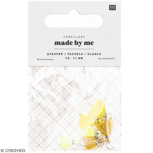 Set de mini pompons tassels - 11 mm - Jaune   - 6 pcs - Photo n°1