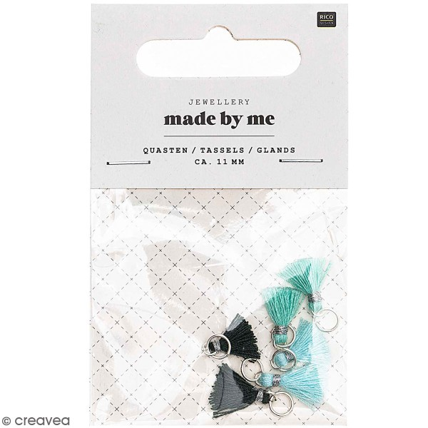 Set de mini pompons tassels - 11 mm - Turquoise - 6 pcs - Photo n°1
