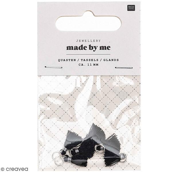Set de mini pompons tassels - 11 mm - Noir - 6 pcs - Photo n°1