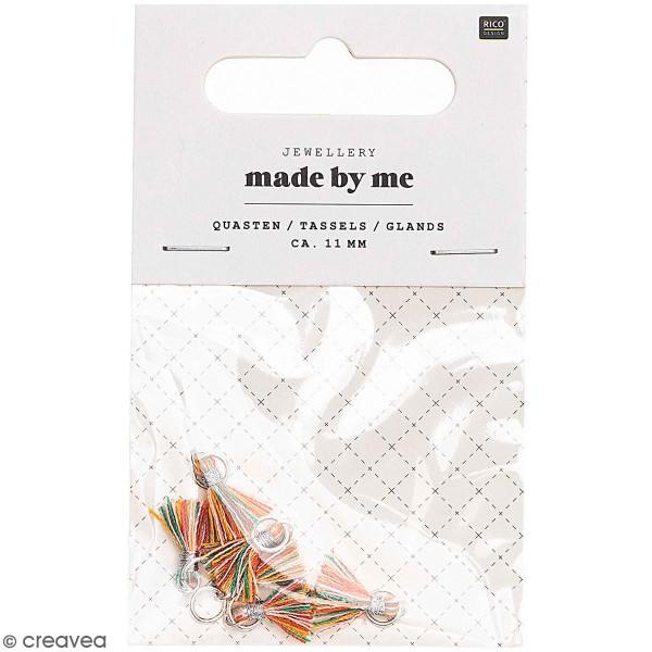 Set de mini pompons tassels - 11 mm - Multicolore - 6 pcs - Photo n°1