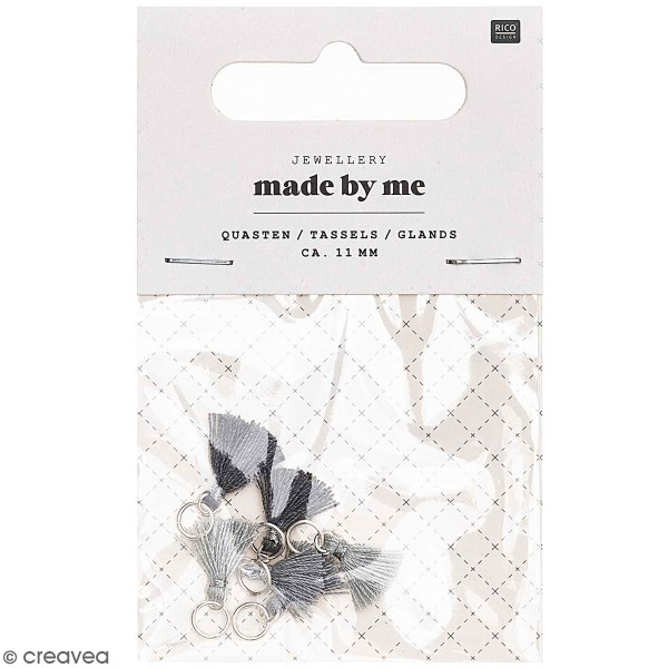 Set de mini pompons tassels - 11 mm - Gris - 6 pcs - Photo n°1
