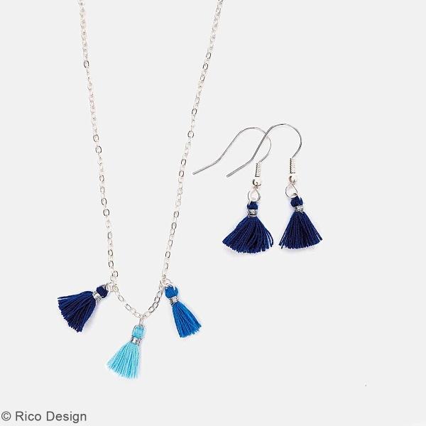 Set de mini pompons tassels - 11 mm - Bleu   - 6 pcs - Photo n°2