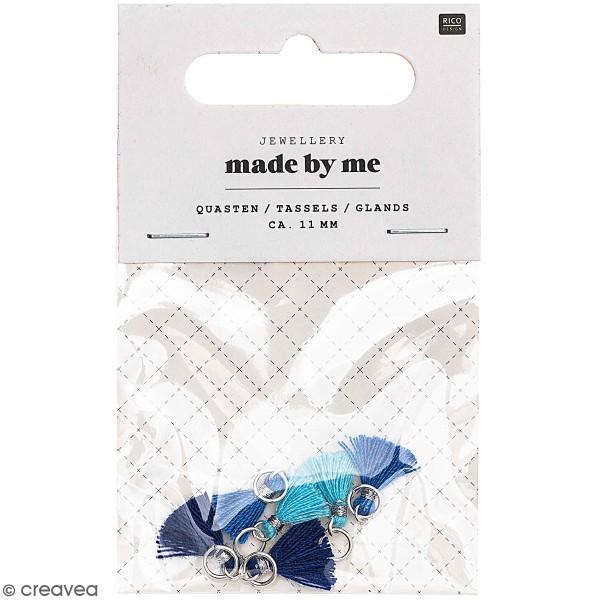 Set de mini pompons tassels - 11 mm - Bleu   - 6 pcs - Photo n°1