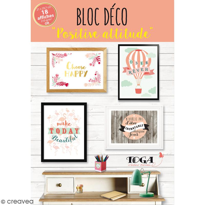 bloc d co affiches murales positive attitude a4 21 x 29 7 cm 18 feuilles d co murale. Black Bedroom Furniture Sets. Home Design Ideas
