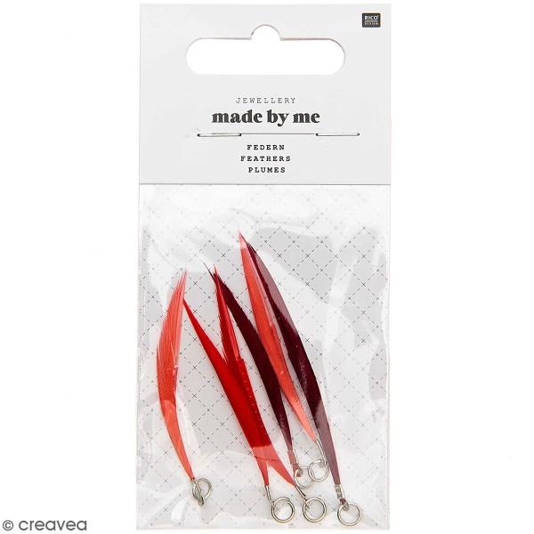 Set de pendentifs plumes - 5 cm - Rouge et rose - 6 pcs - Photo n°1