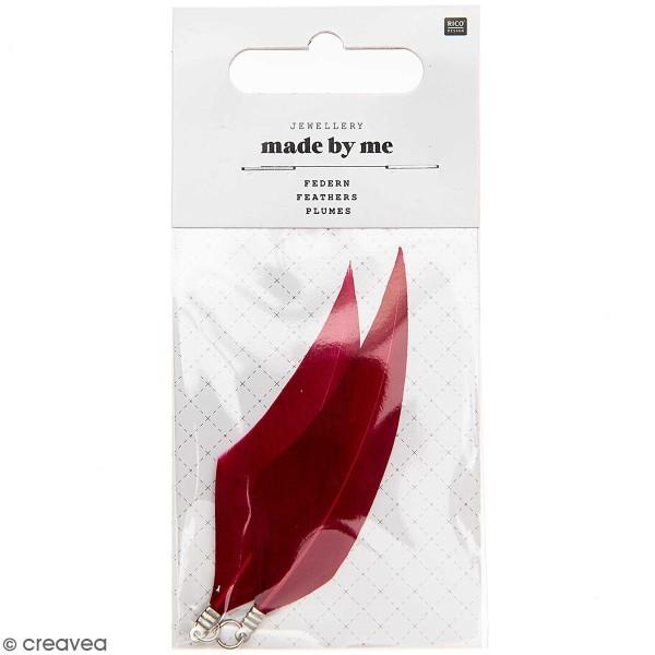 Set de pendentifs plumes - 7 cm - Rouge bordeaux - 2 pcs - Photo n°1
