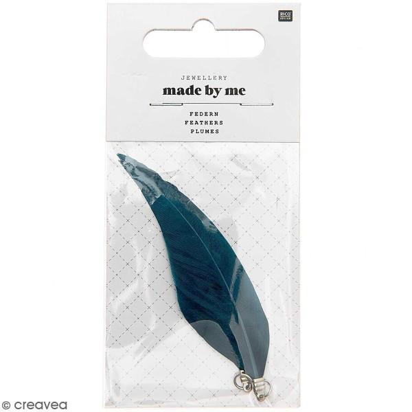 Set de pendentifs plumes - 7 cm - Bleu canard - 2 pcs - Photo n°1
