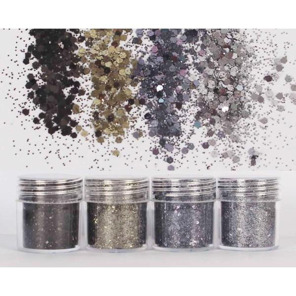 4pcs Argent Foncé Métallisé, Mélanger Ensemble, Nail Art Glitter Powder Hexagone Kit de Cheveux, Man - Photo n°1