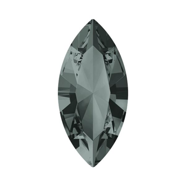 8pcs Diamant Noir 215 Xilion Navette de Pierre de Fantaisie en Verre de Cristaux de forme Ovale Feui - Photo n°1