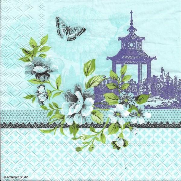 4 Serviettes en papier Asie Pagode Format Lunch Decoupage Decopatch 13313245 Ambiente - Photo n°1