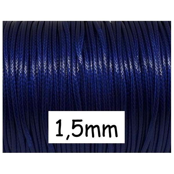 5m Cordon Polyester Enduit Bleu Nuit 1,5mm, Imitation Cuir Souple Pour Création Bijoux - Photo n°1