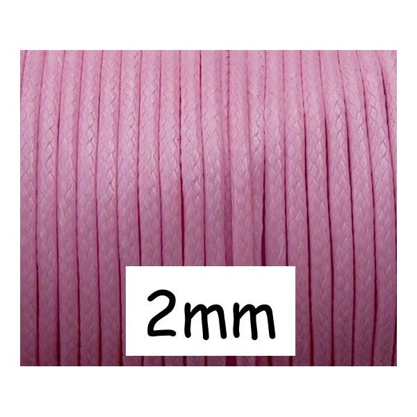 5m Cordon Polyester Enduit 2mm Souple Imitation Cuir Rose Pâle Brillant - Photo n°1