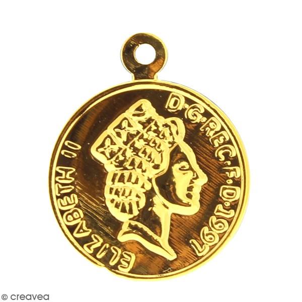 Médaille pièce en métal doré - 20 mm - Photo n°1