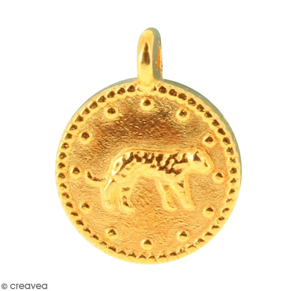 Petite médaille tigre en métal doré vieilli - 12 mm - Photo n°1