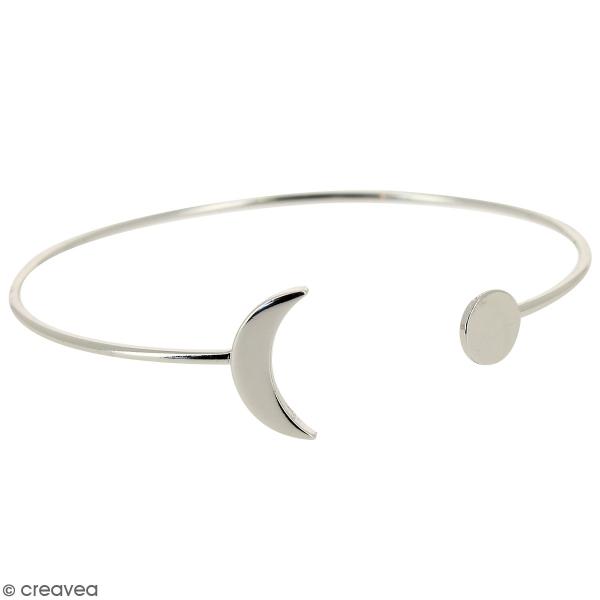 Bracelet jonc ouvert en métal Argenté - Lune - 61 mm - Photo n°1